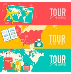 Tour of the world seamless pattern concept tourism vector