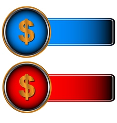 Two symbols of currencies vector