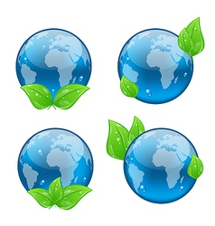 Set icon earth with green leaves isolated on white vector