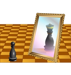 Chess pawn as the queen vector