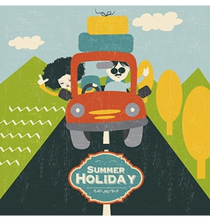 Retro couple traveling by car vector