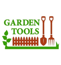 Landscaping icon with garden tools vector