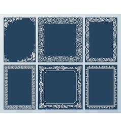 Elegant set ornate frames and vintage scroll vector