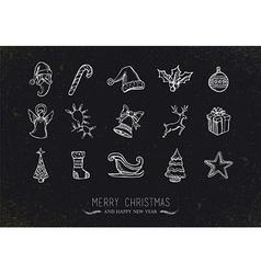 Vintage sketch christmas icons vector