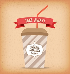 Take-away fast food coffee paper cup template vector