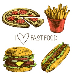 Hand drawn fast food set vector