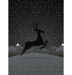 Reindeer at night vector