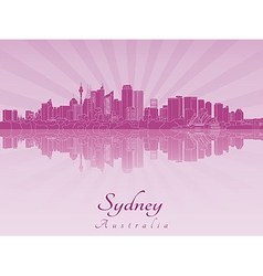 Sydney v2 skyline in purple radiant orchid vector