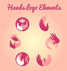 Hands and flowers logo element vector