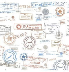Rubber passport stamps travel symbol vector