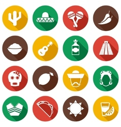 Mexico flat icons set vector