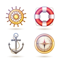 Marine symbols set vector