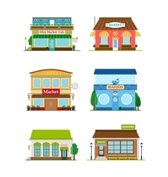 Shop store facade set vector