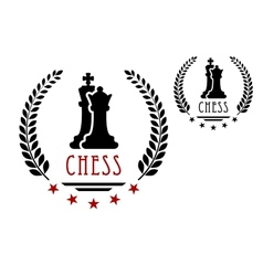 Chess game emblem with king and queen vector