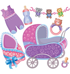 Baby accessory cute set vector