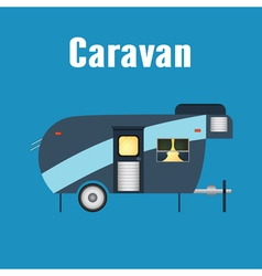 Camping trailer caravan isolated vector