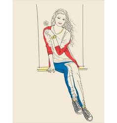 Girl sits on a swing and holding a flower in his h vector