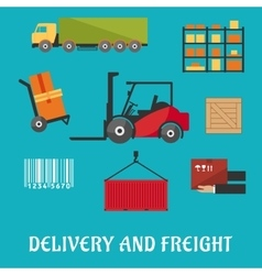 Delivery and freight flat infographic vector