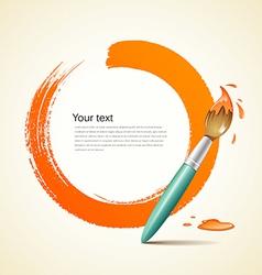 Paint brush orange background vector
