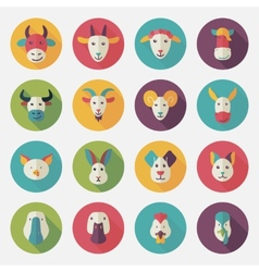 Farm animals flat icons with long shadow vector