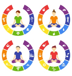 Yoga lifestyle circles set with people isolated on vector