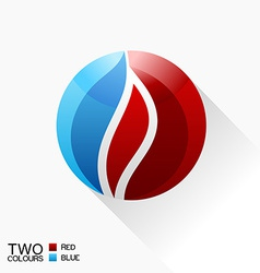 Symbol fire blue and red round glass icon with vector