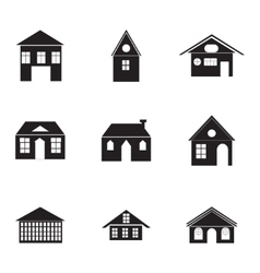 Black buildings icons set vector