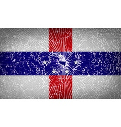 Flags netherlands antilles with broken glass vector