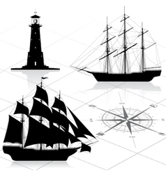 Nautical design elements vector