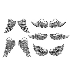 Hand-drawn wings set vector