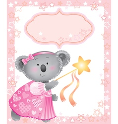 Baby pink frame with koala vector