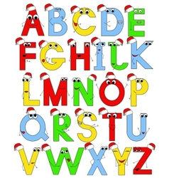 Funny latin alphabet in santa caps vector