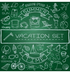Hand drawn vacation icons set vector