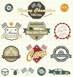 Retro car racing labels vector