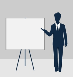 Trainer stand near whiteboard presentation demo vector