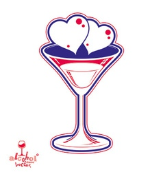 Valentines day martini glass vector