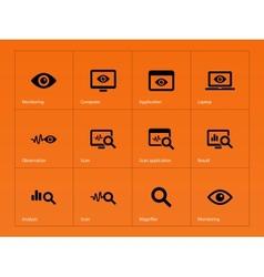 Monitoring icons on orange background vector