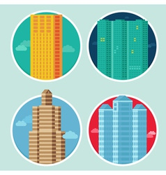 City icons in flat style on round emblems - houses vector