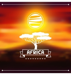 African ethnic background on evening savanna vector