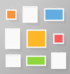 Color picture frames set on the wall vector