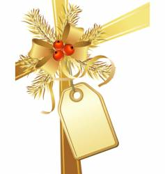 Golden christmas bow and tag vector