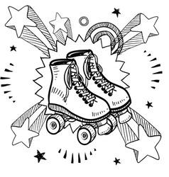 Doodle pop rollerskates vector