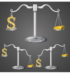 Balance between dollar and gold vector