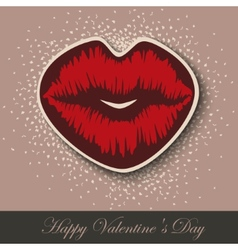 Paper hearts lips kiss sticker vector
