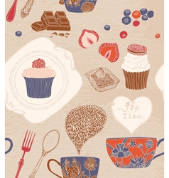 Seamless pattern cups cakes vector