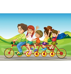 Cartoon family bicycle vector