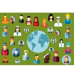 People flat avatars with global professions vector
