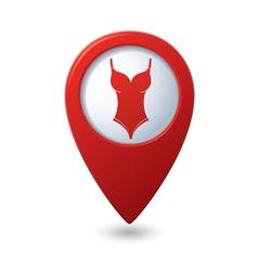 Swim suit icon on map pointer vector