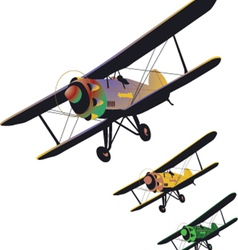 Set of old biplane vector