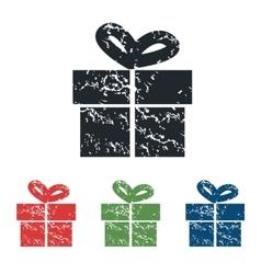 Gift box grunge icon set vector
